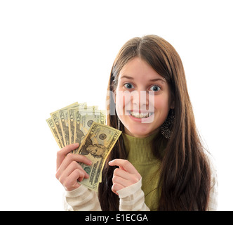 A Young Brunette Woman with Money in her hand, over White, Dollar Sign Reflection in Eyes - Stock Photo