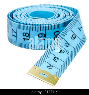 Tailors tape measure cut out against a white background. Blue measuring tape. - Stock Photo