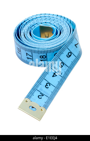 Tailors tape measure cut out against a white background. Blue measuring tape.