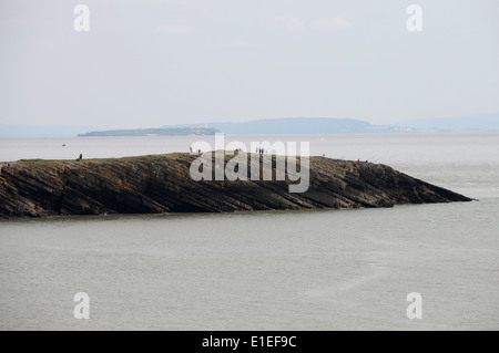 The view over The Bristol Channel to Flatholm Island from The Knapp, Barry, South Wales. - Stock Photo
