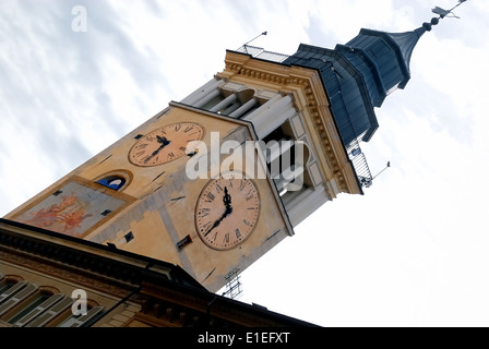 Cuneo, Piedmont. Civic Tower. The tower was built in the fourteenth century. It is decorated with a fresco. - Stock Photo