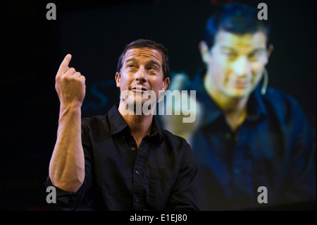 Bear Grylls adventurer speaking about his life & work at Hay Festival 2014 - Stock Photo
