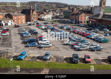 Town centre car park from above in Chesterfield, Derbyshire, England, UK - Stock Photo