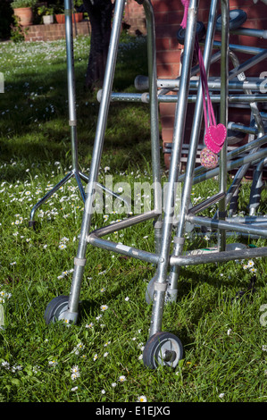 zimmer frame,pushing up daisies,mobillity,disabled,wheelchairs,care home.verve,wheelchair, chair, wheel, handicap, - Stock Photo