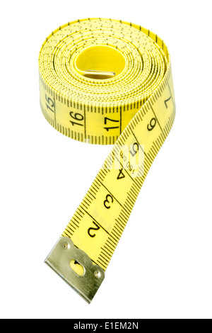 Tailors tape measure cut out against a white background. Yellow measuring tape. - Stock Photo