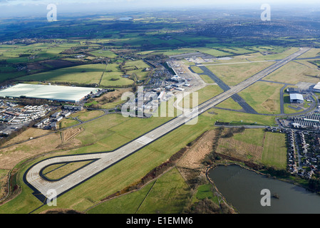 Leeds Bradford Airport, a pilots eye view from the air, showing the main runway, Yorkshire, England, UK - Stock Photo