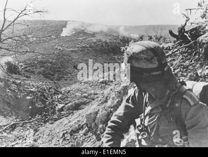 The picture from Nazi news reporting shows German troops during their attack on Sevastopol on the Crimean Peninsula - Stock Photo