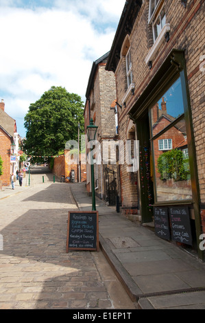 Steep Hill in Lincoln City Centre, Lincolnshire England UK - Stock Photo