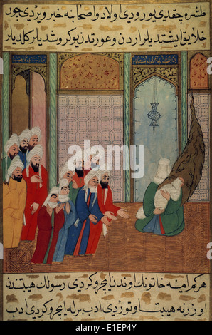 Muhammad (c. 570-632), newborn on his mother's arms, shows to his grandfather Abd al-Muttalib and other inhabitants - Stock Photo