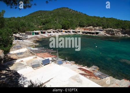 Boat huts at Sa Caleta - Stock Photo
