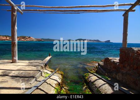 General view of Sa Caleta beach - Stock Photo