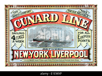 CUNARD LINE SHIPPING POSTER 19th Century vintage historic  poster for Cunard Line sailing trans Atlantic from Liverpool - Stock Photo
