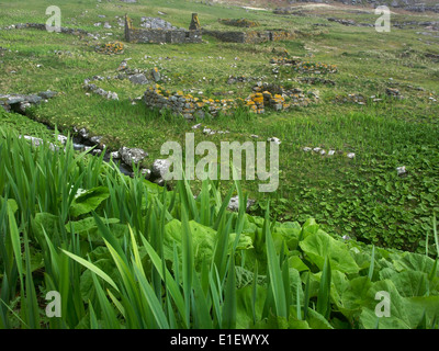 ruined buildings in deserted village, Mingulay, Outer Hebrides, Scotland - Stock Photo