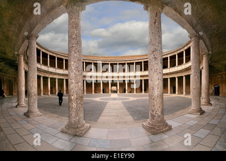 Courtyard of the Palace of Charles V (Palacio de Carlos V) in La Alhambra, Granada, Spain. - Stock Photo