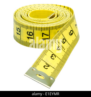 Tailors tape measure cut out on a white background. Yellow measuring tape. - Stock Photo