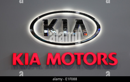 KIA MOTORS Logo at the AMI - Auto Mobile International Trade Fair on June 1st, 2014 in Leipzig, Germany - Stock Photo