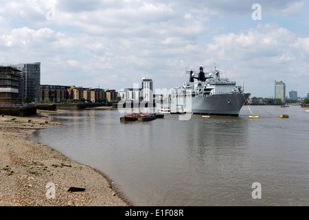 HMS Bulwark of the Royal Navy moored on the river Thames at Greenwich, London, England, UK. - Stock Photo