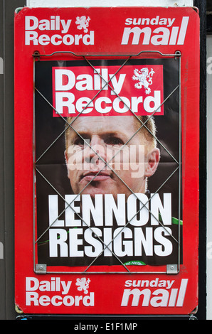 Scottish Daily Record newspaper billboard announcing the resignation of the Celtic Football manager, Neil Lennon. - Stock Photo