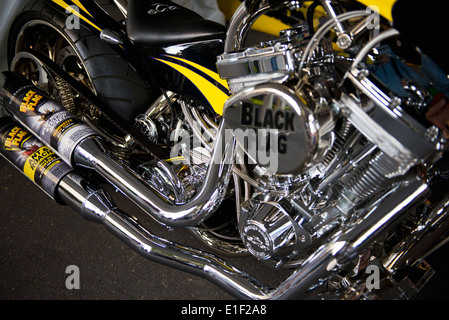 'Black Flag' Custom Built Motorcycle from 'Orange County Choppers' on display at the 2014 Coca-Cola 600 Nascar Race. - Stock Photo
