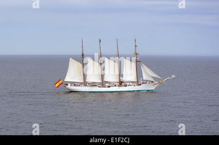 The Royal Spanish Navy tall sailing ship Juan Sebasti‡n de Elcano, a four-masted topsail, steel-hulled schooner - Stock Photo