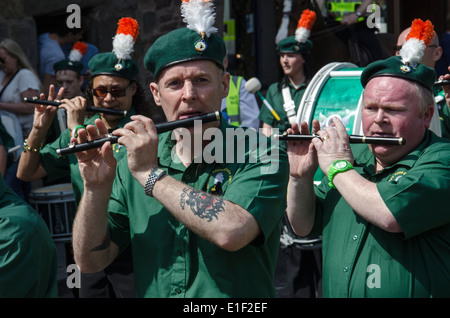 Members of an Irish Republican flute band on the James Connolly Memorial March in Edinburgh, 2014. - Stock Photo