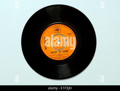 'Gates of Eden' by Bob Dylan, vinyl 45 rpm record. - Stock Photo