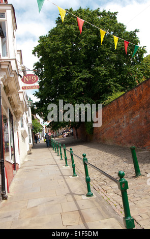 The Famous Steep Hill in Lincoln City Centre, Lincolnshire England UK - Stock Photo