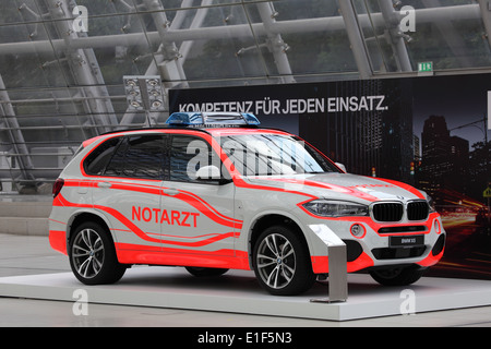 BMW X5 Notarzt (emergency doctor) at the AMI - Auto Mobile International Trade Fair on June 1st, 2014 in Leipzig, - Stock Photo