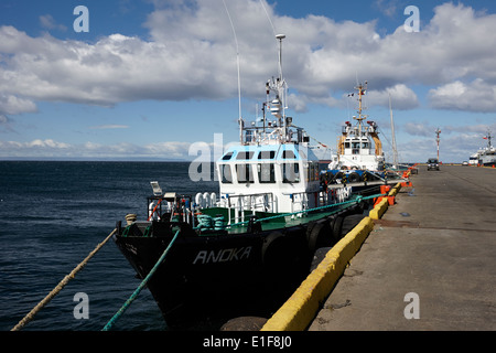 pilot ships moored in Punta Arenas port Chile - Stock Photo