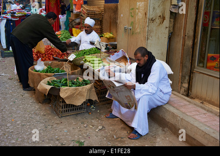 Egypt, Nile Valley, Luxor, Luxor souk or market - Stock Photo