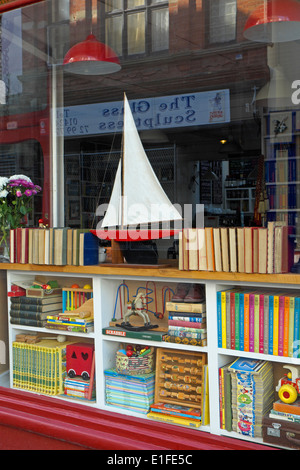 Bookshop and curio shop in George Street Hastings Old Town East Sussex England GB UK - Stock Photo