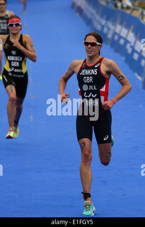 Helen Jenkins run to the finish line during the 2014 ITU Triathlon held in London - Stock Photo