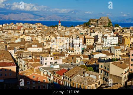 Greece, Ionian island, Corfu island, Kerkyra city, Unesco world heritage, the old Fortress and Agios Spyridon church - Stock Photo