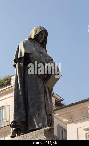 Rome, Italy. Statue of Giordano Bruno in Campo de Fiori, created by Ettore Ferrari. - Stock Photo