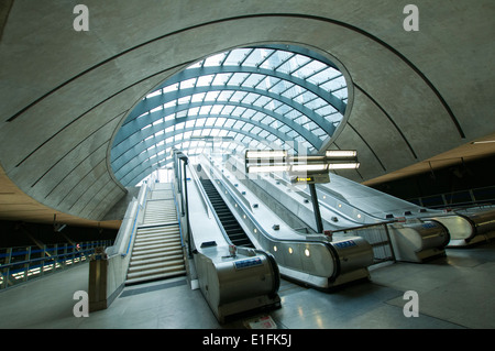 Canary Wharf Station on the London Underground, England UK - Stock Photo