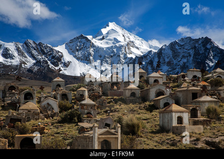 Milluni miner´s cemetery and Huayna Potosi mountain (6088mts). Cordillera Real. Bolivia - Stock Photo