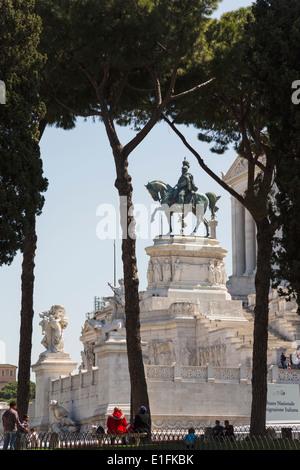Rome, Italy. Monument to Vittorio Emanuele II, also known as the Vittoriano. Equestrian statue of Vittorio Emanuele - Stock Photo