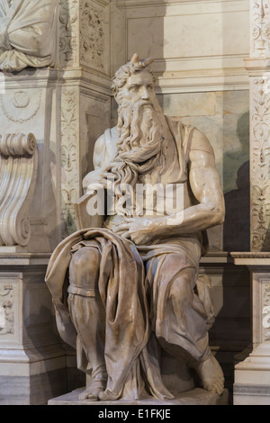 Rome, Italy. Michelangelo's Moses in San Pietro in Vincoli church. - Stock Photo