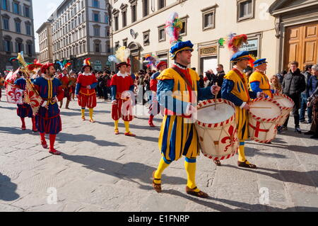 Musicians of Calcio Storico, Piazza Duomo, Florence (Firenze), Tuscany, Italy, Europe - Stock Photo