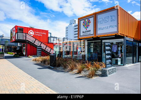 Rebuild center in containers in Christchurch, Canterbury, South Island, New Zealand, Pacific - Stock Photo