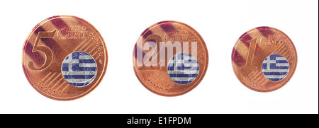 European union concept - 1, 2 and 5 eurocent, flag of Greece - Stock Photo