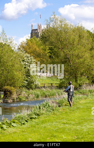 Fly fishing for trout on the River Coln opposite St Marys church in the Cotswold town of Fairford, Gloucestershire - Stock Photo