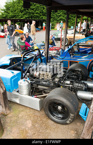Lola sports car in paddock at Shelsley Walsh motor racing hill climb Worcestershire England UK - Stock Photo
