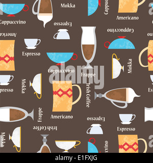 Coffe cups background. Seamless vector pattern - Stock Photo