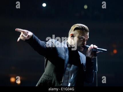 Prague, Czech Republic. 03rd June, 2014. US singer Justin Timberlake performs during a concert in Prague, Czech - Stock Photo