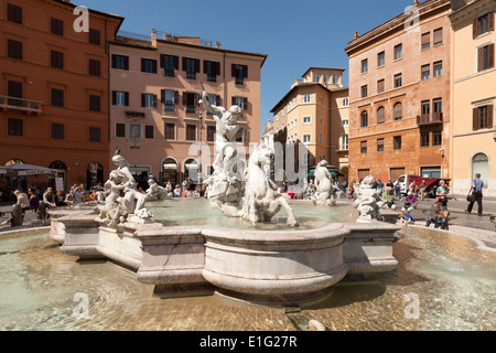 The Fountain of Neptune on a sunny spring day, the northern end of the Piazza Navona, Rome Italy Europe - Stock Photo