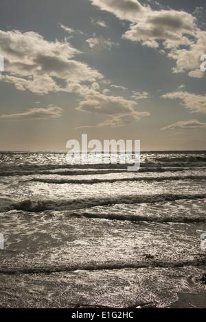 Pacific Ocean waves and beach along Central Coast of California near Santa Barbara USA - Stock Photo