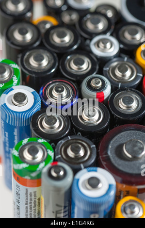 Close-up of many AA and AAA round cell batteries - Stock Photo