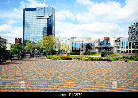 View of Centenary Square including the ICC, Symphony Hall, Repertory Theatre and the Library of Birmingham, Birmingham, - Stock Photo