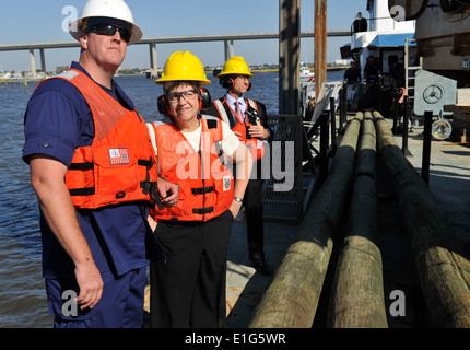Secretary of the Department of Homeland Security Janet Napolitano, center, observes aids-to-navigation operations - Stock Photo
